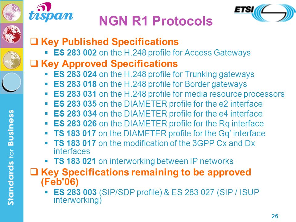 26 NGN R1 Protocols Key Published Specifications ES 283 002 on the H.248 profile for Access Gateways Key Approved Specifications ES 283 024 on the H.248 profile for Trunking gateways ES 283 018 on the H.248 profile for Border gateways ES 283 031 on the H.248 profile for media resource processors ES 283 035 on the DIAMETER profile for the e2 interface ES 283 034 on the DIAMETER profile for the e4 interface ES 283 026 on the DIAMETER profile for the Rq interface TS 183 017 on the DIAMETER profile for the Gq interface TS 183 017 on the modification of the 3GPP Cx and Dx interfaces TS 183 021 on interworking between IP networks Key Specifications remaining to be approved (Feb 06) ES 283 003 (SIP/SDP profile) & ES 283 027 (SIP / ISUP interworking)