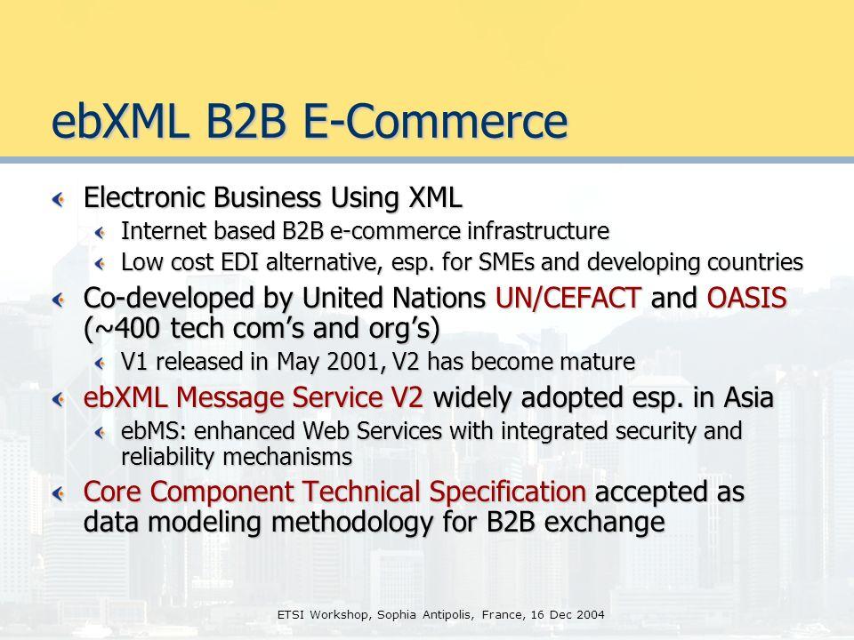 ETSI Workshop, Sophia Antipolis, France, 16 Dec 2004 HK Govt XML Data Standardization XML data modeling and standardization for e-govt applications Standardized Common Schemas persons name, HKID#, address, etc.