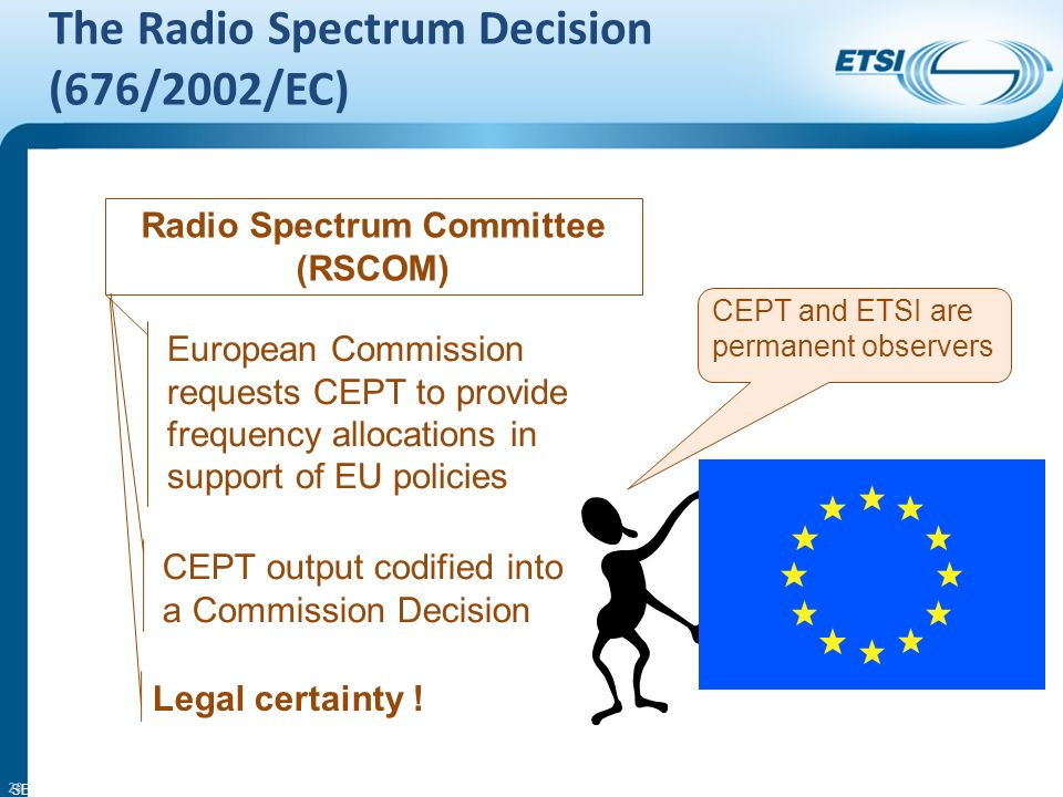 SEM26-01 The Radio Spectrum Decision (676/2002/EC) 29 Radio Spectrum Committee (RSCOM) European Commission requests CEPT to provide frequency allocations in support of EU policies CEPT output codified into a Commission Decision Legal certainty .