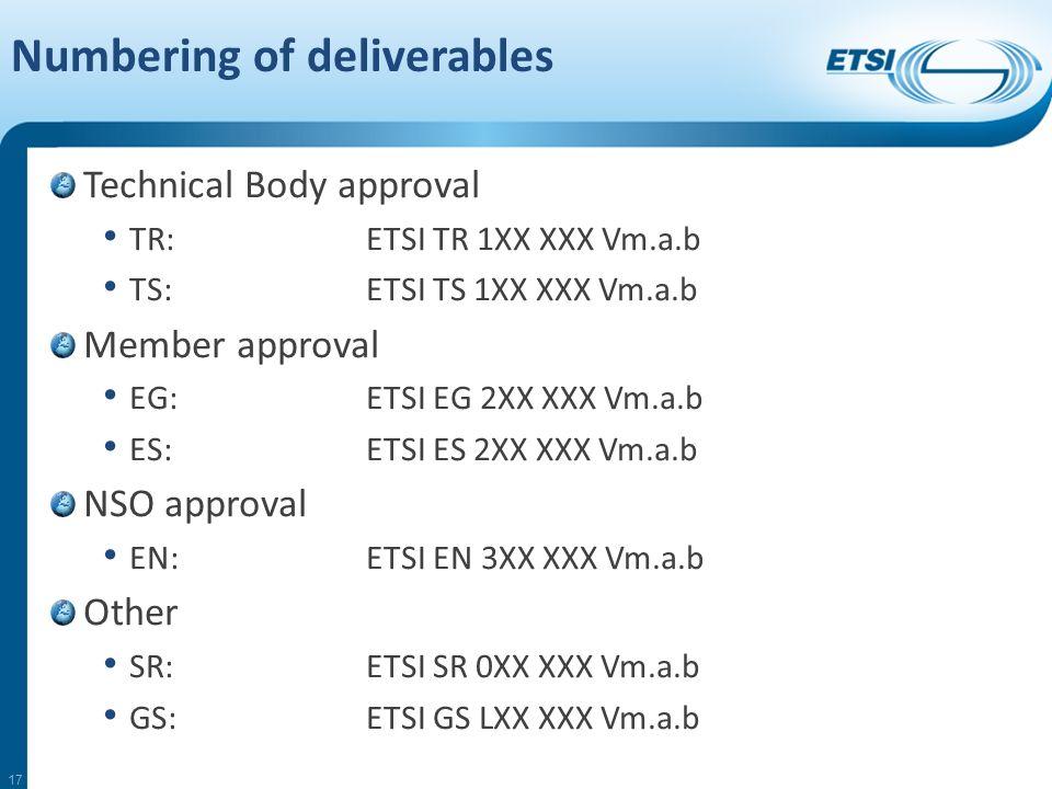 Technical Body approval TR:ETSI TR 1XX XXX Vm.a.b TS:ETSI TS 1XX XXX Vm.a.b Member approval EG:ETSI EG 2XX XXX Vm.a.b ES:ETSI ES 2XX XXX Vm.a.b NSO approval EN:ETSI EN 3XX XXX Vm.a.b Other SR:ETSI SR 0XX XXX Vm.a.b GS:ETSI GS LXX XXX Vm.a.b 17
