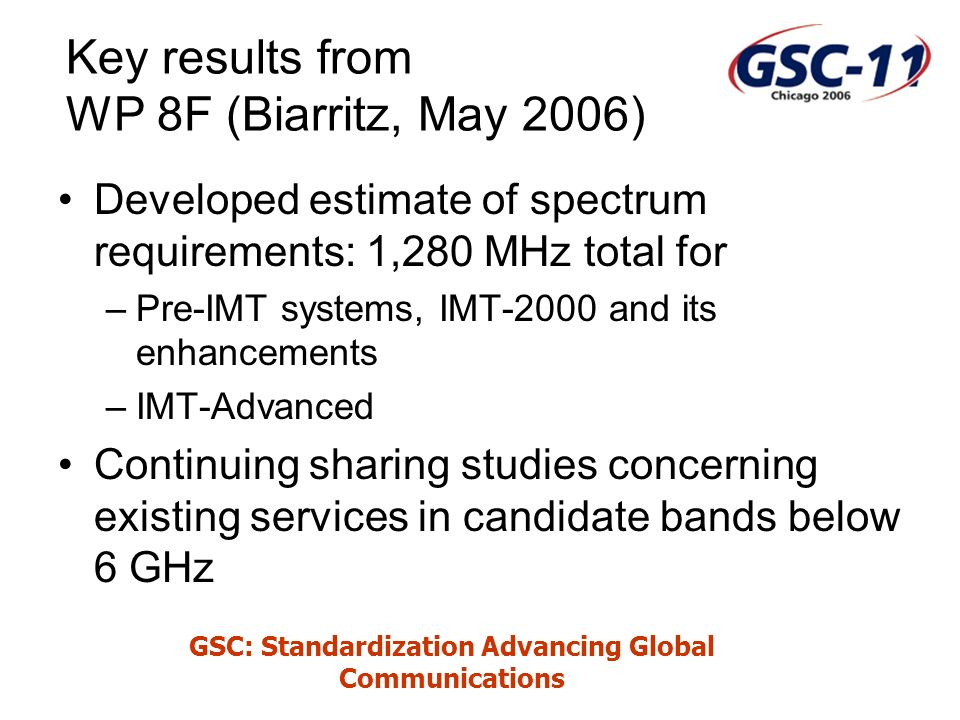 GSC: Standardization Advancing Global Communications Key results from WP 8F (Biarritz, May 2006) Developed estimate of spectrum requirements: 1,280 MHz total for –Pre-IMT systems, IMT-2000 and its enhancements –IMT-Advanced Continuing sharing studies concerning existing services in candidate bands below 6 GHz