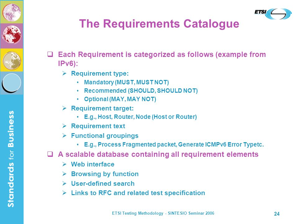 ETSI Testing Methodology - SINTESIO Seminar 2006 24 The Requirements Catalogue Each Requirement is categorized as follows (example from IPv6): Require