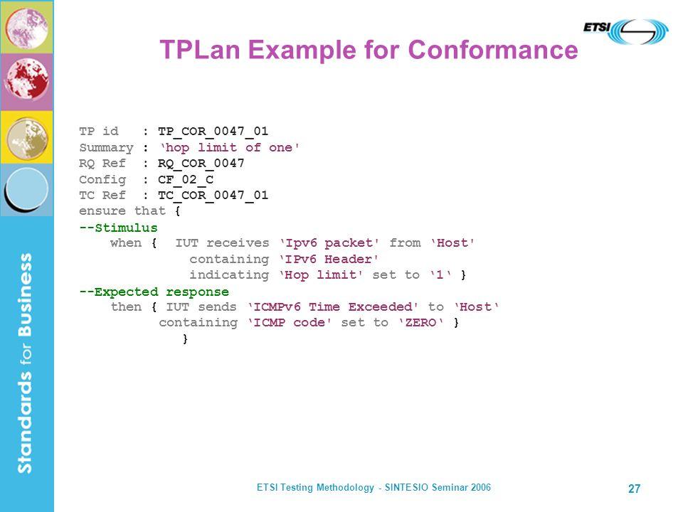 ETSI Testing Methodology - SINTESIO Seminar 2006 27 TPLan Example for Conformance TP id : TP_COR_0047_01 Summary : hop limit of one' RQ Ref : RQ_COR_0