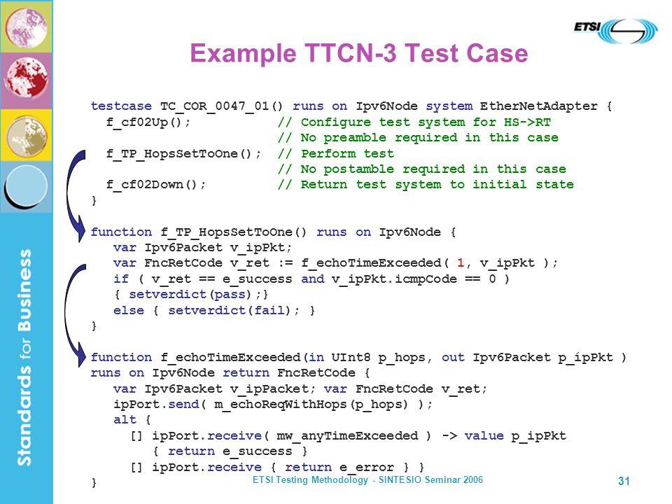 ETSI Testing Methodology - SINTESIO Seminar 2006 31 Example TTCN-3 Test Case testcase TC_COR_0047_01() runs on Ipv6Node system EtherNetAdapter { f_cf0