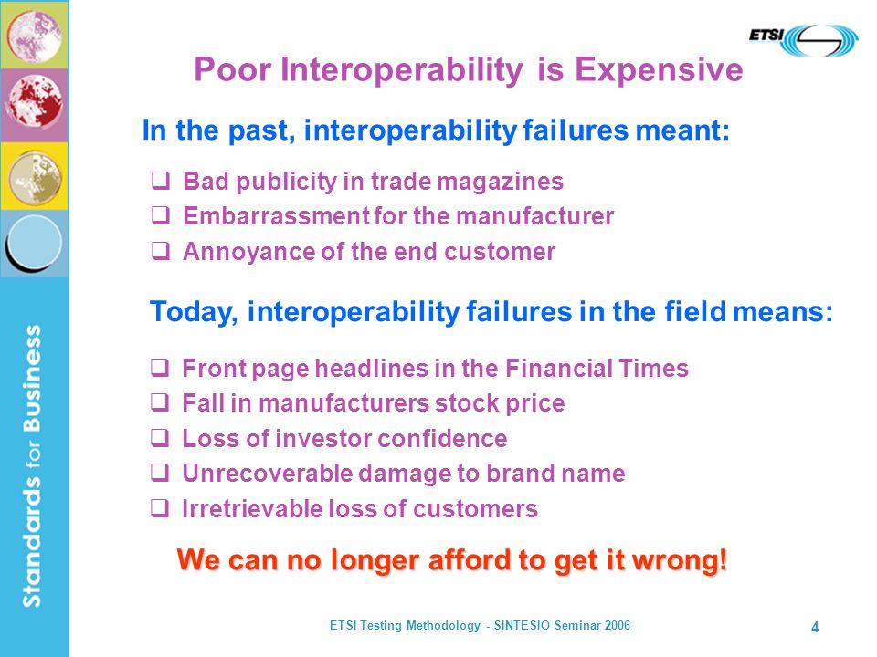 ETSI Testing Methodology - SINTESIO Seminar 2006 4 Poor Interoperability is Expensive Bad publicity in trade magazines Embarrassment for the manufactu