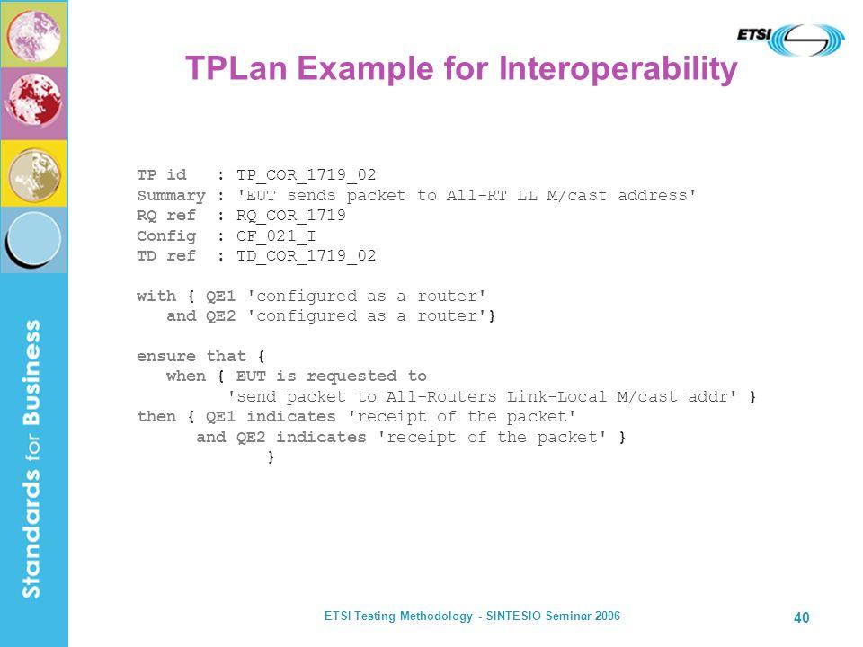 ETSI Testing Methodology - SINTESIO Seminar 2006 40 TP id : TP_COR_1719_02 Summary : 'EUT sends packet to All-RT LL M/cast address' RQ ref : RQ_COR_17