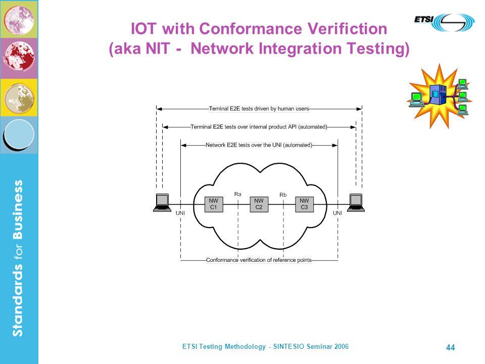 ETSI Testing Methodology - SINTESIO Seminar 2006 44 IOT with Conformance Verifiction (aka NIT - Network Integration Testing)