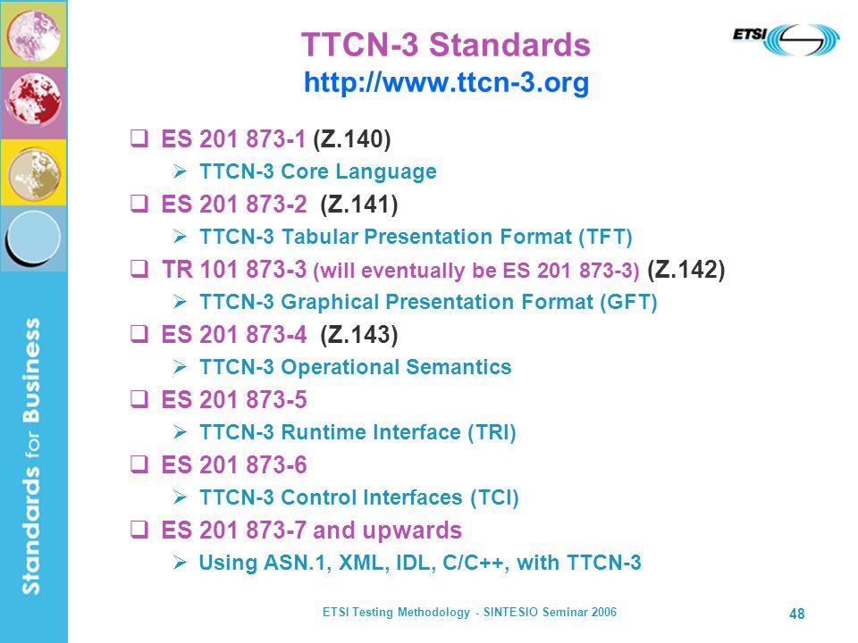 ETSI Testing Methodology - SINTESIO Seminar 2006 48 TTCN-3 Standards http://www.ttcn-3.org ES 201 873-1 (Z.140) TTCN-3 Core Language ES 201 873-2 (Z.1