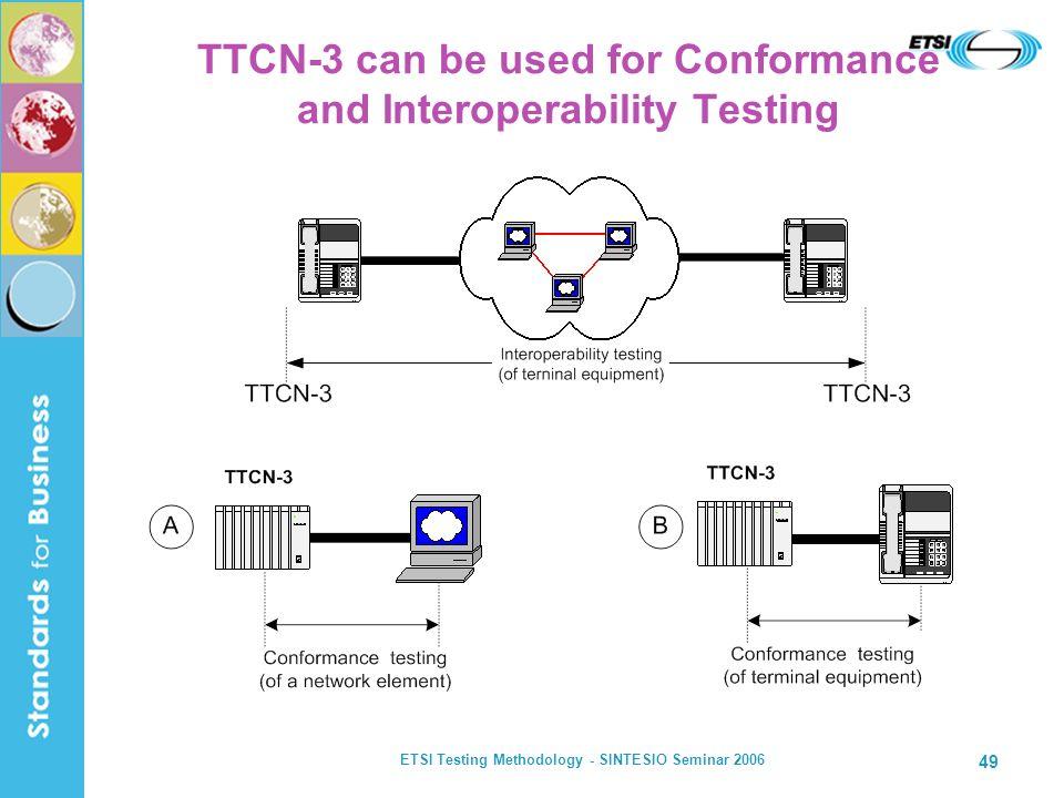 ETSI Testing Methodology - SINTESIO Seminar 2006 49 TTCN-3 can be used for Conformance and Interoperability Testing