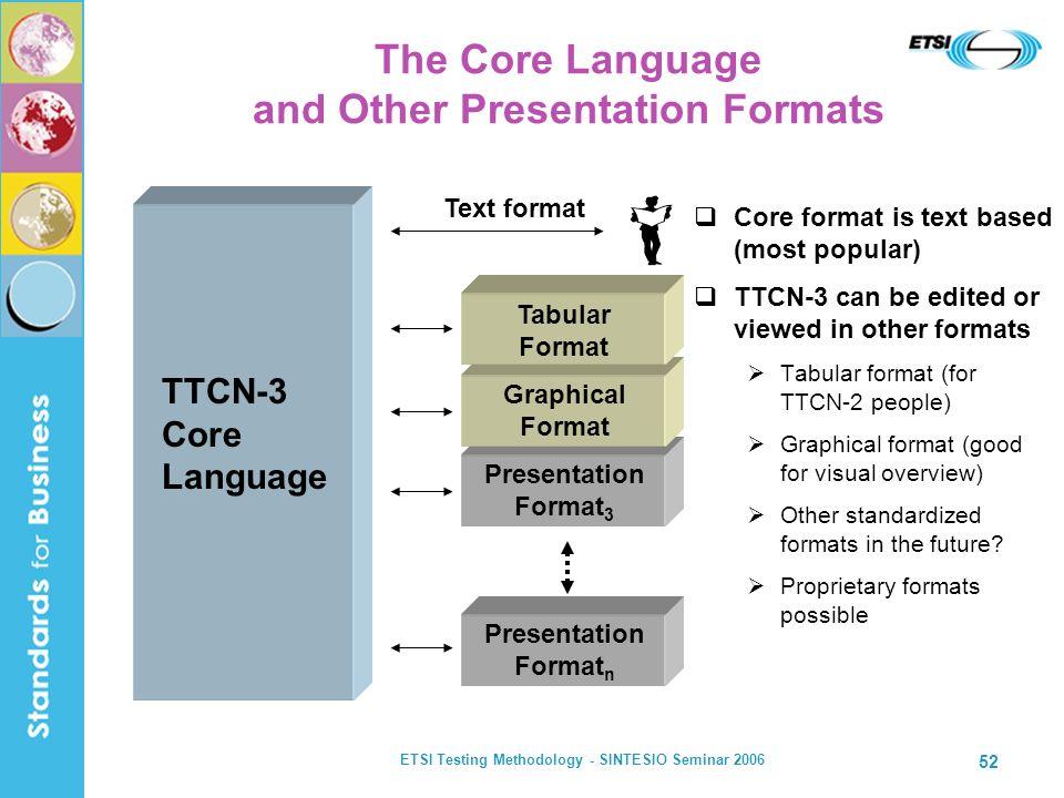 ETSI Testing Methodology - SINTESIO Seminar 2006 52 The Core Language and Other Presentation Formats TTCN-3 Core Language Text format Presentation For