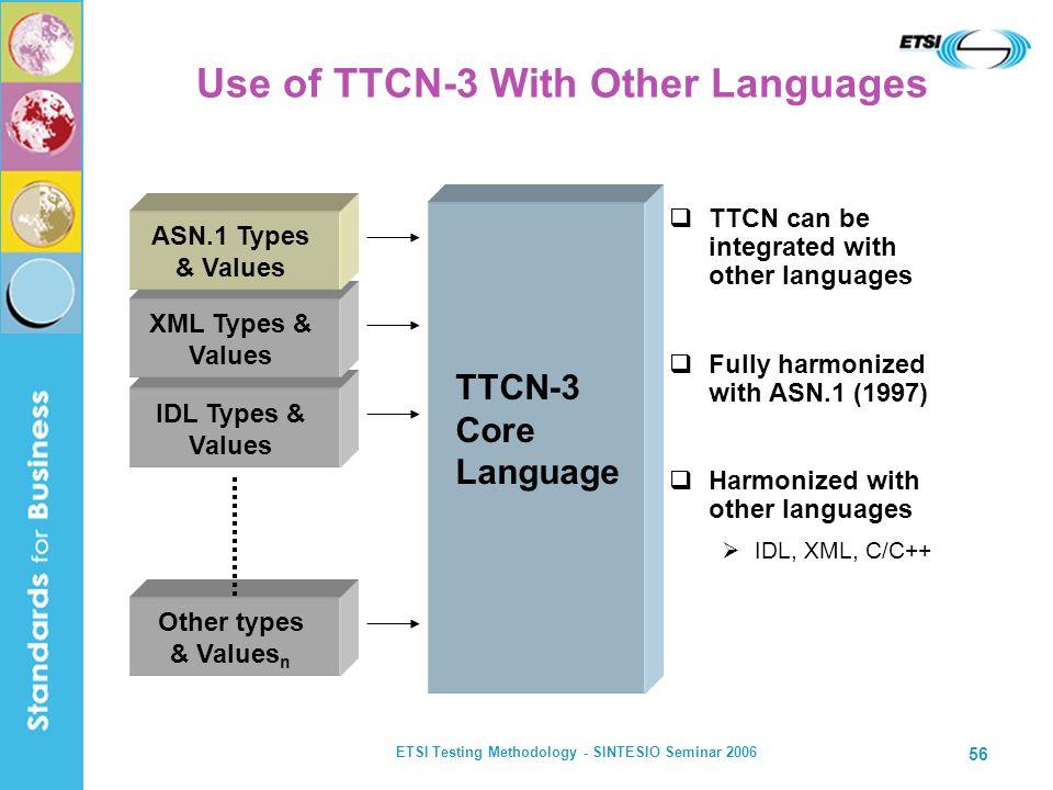 ETSI Testing Methodology - SINTESIO Seminar 2006 56 Use of TTCN-3 With Other Languages TTCN can be integrated with other languages Fully harmonized wi