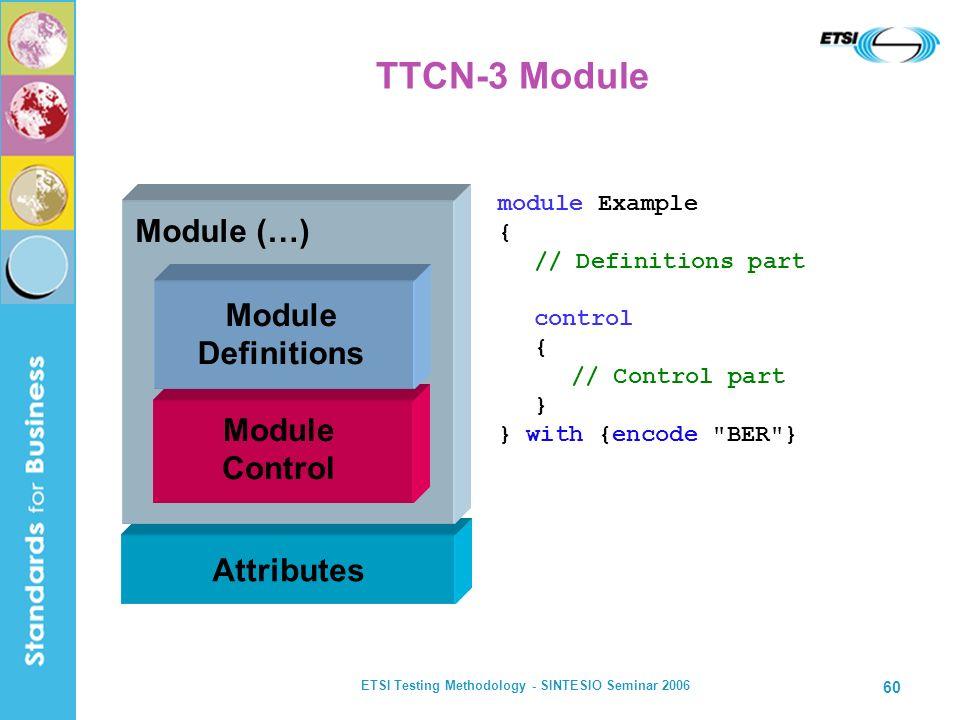 ETSI Testing Methodology - SINTESIO Seminar 2006 60 TTCN-3 Module module Example { // Definitions part control { // Control part } } with {encode