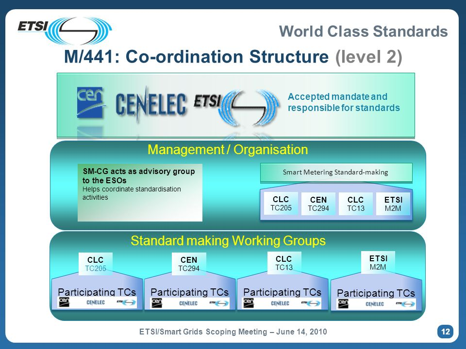 World Class Standards M/441: Involvement of ETSI 13 Standard making Working Groups Participating TCs CLC TC205 Participating TCs CEN TC294 CLC TC13 ETSI M2M Home AutomationNon Electricity MetersElectricity Meters… M2M ERM TISPAN WG5 PLT SCP 3GPP ATTM 13 ETSI/Smart Grids Scoping Meeting – June 14, 2010