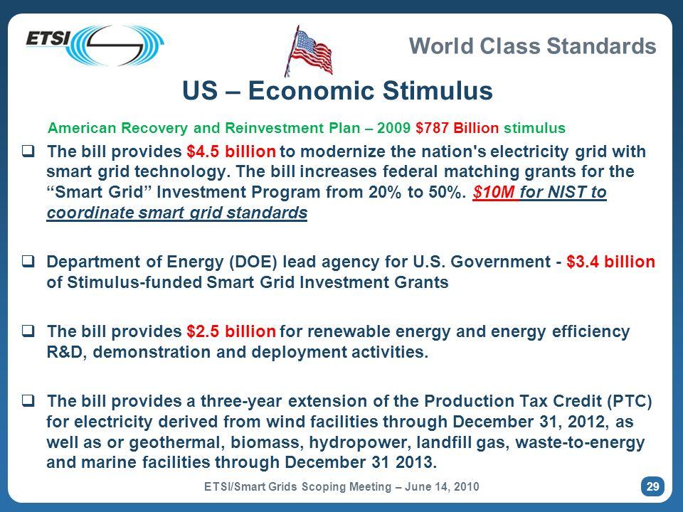 World Class Standards 29 US – Economic Stimulus American Recovery and Reinvestment Plan – 2009 $787 Billion stimulus The bill provides $4.5 billion to