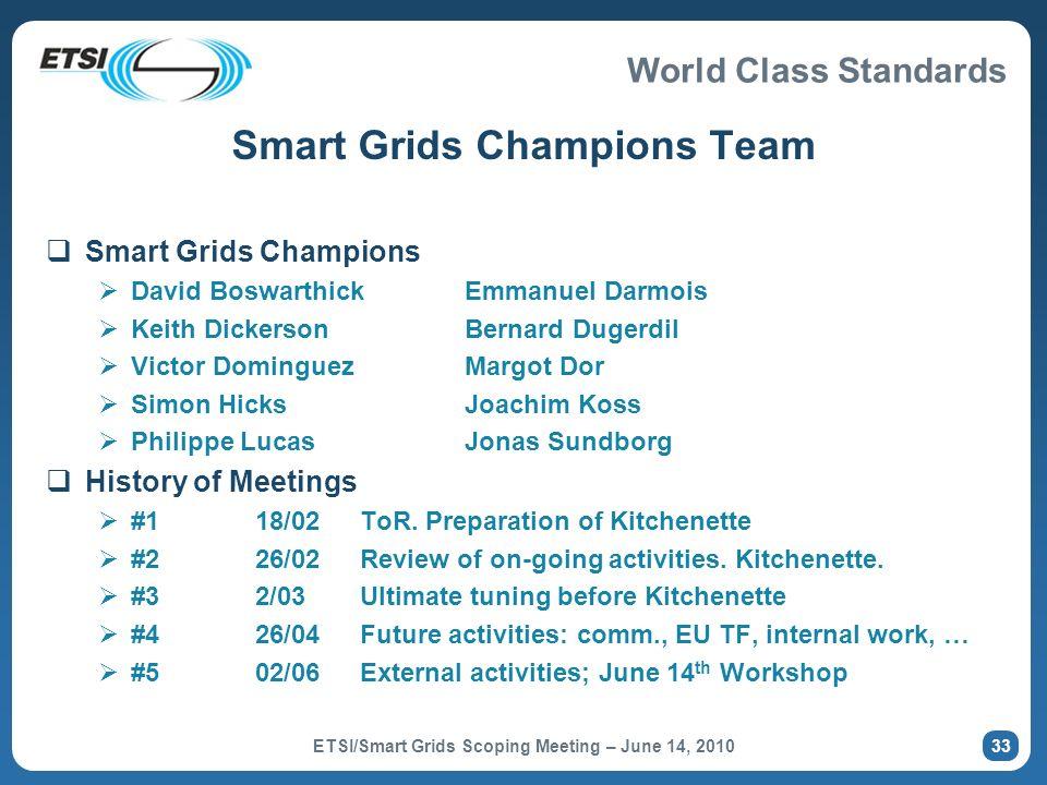 World Class Standards Smart Grids Champions Team Smart Grids Champions David BoswarthickEmmanuel Darmois Keith DickersonBernard Dugerdil Victor Doming