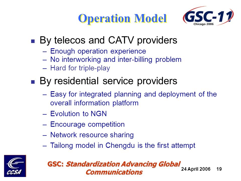 24 April 2006 19 GSC: Standardization Advancing Global Communications By telecos and CATV providers –Enough operation experience –No interworking and