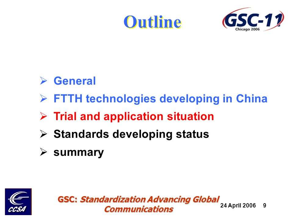 24 April 2006 20 GSC: Standardization Advancing Global Communications Outline General FTTH technologies developing in China Trial and application situation Standards developing status summary