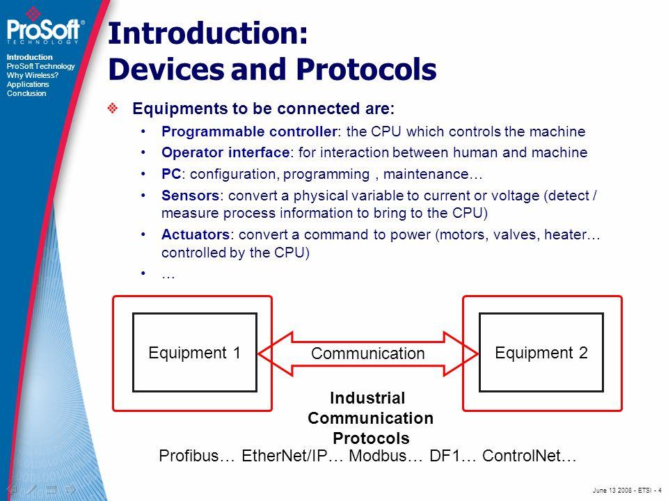 June 13 2008 - ETSI - 15 Steel foundry Introduction ProSoft Technology Why Wireless.