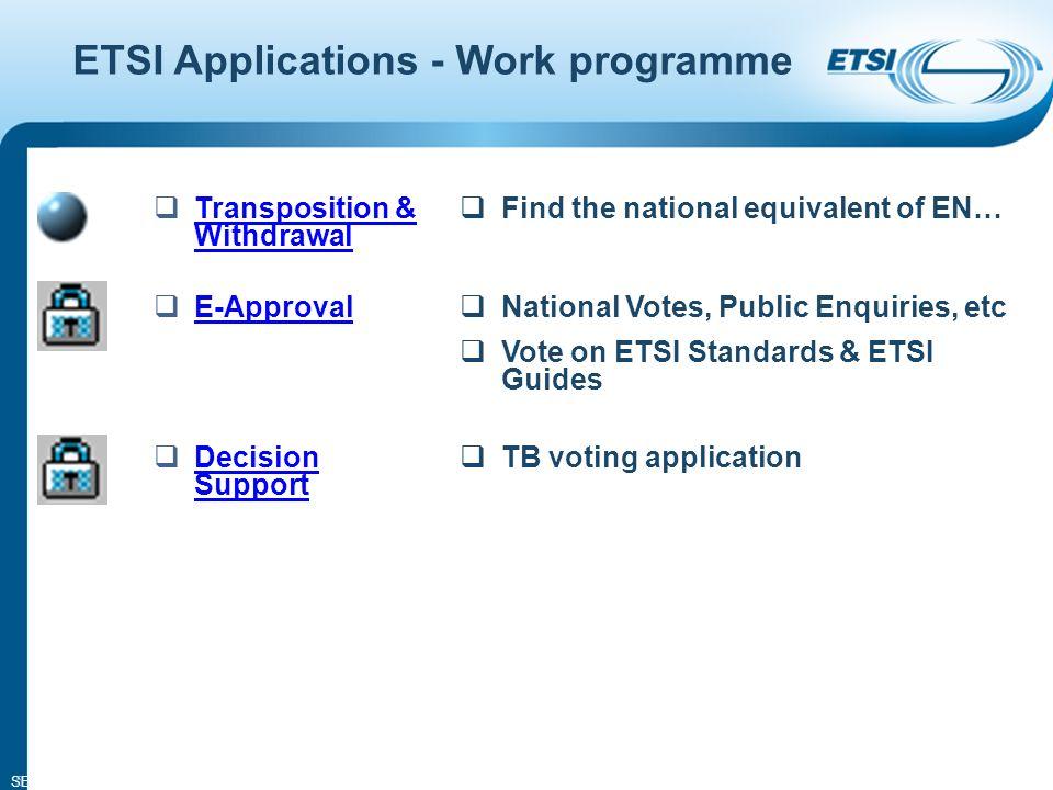 SEM02-10 5 ETSI Applications - Work programme Transposition & Withdrawal Transposition & Withdrawal Find the national equivalent of EN… E-Approval National Votes, Public Enquiries, etc Vote on ETSI Standards & ETSI Guides Decision Support Decision Support TB voting application