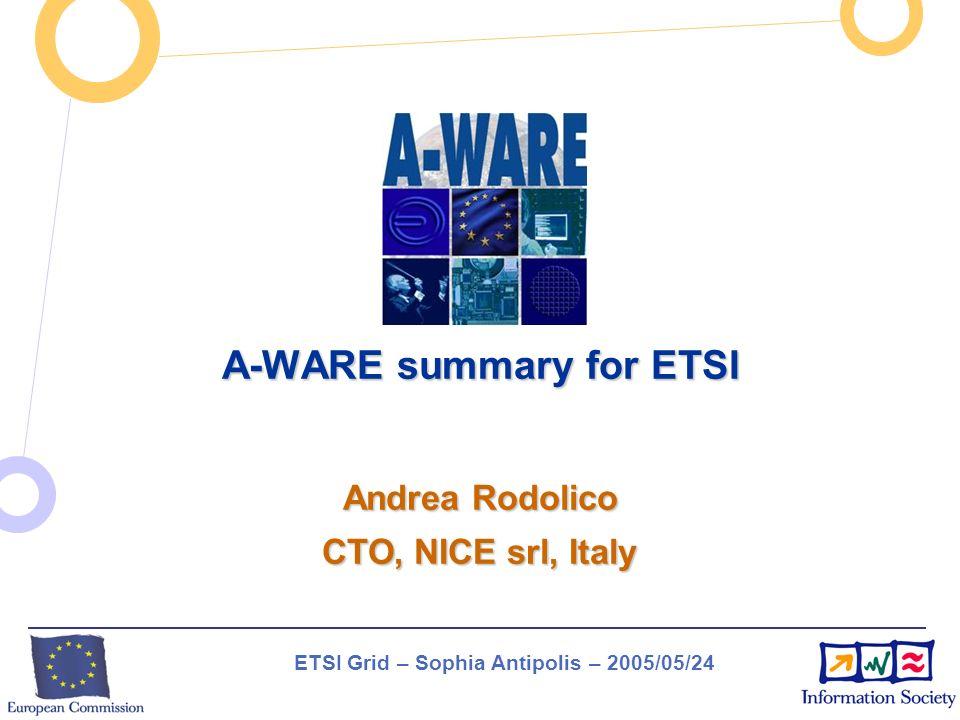 ETSI Grid – Sophia Antipolis – 2005/05/24 A-WARE summary for ETSI Andrea Rodolico CTO, NICE srl, Italy
