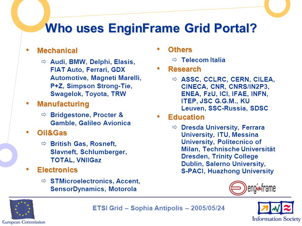 ETSI Grid – Sophia Antipolis – 2005/05/24 Who uses EnginFrame Grid Portal? Mechanical Mechanical Audi, BMW, Delphi, Elasis, FIAT Auto, Ferrari, GDX Au