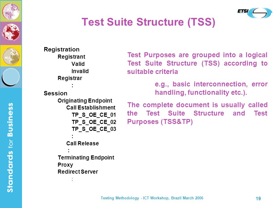 Testing Methodology - ICT Workshop, Brazil March 2006 19 Test Suite Structure (TSS) Registration Registrant Valid Invalid Registrar : Session Originat