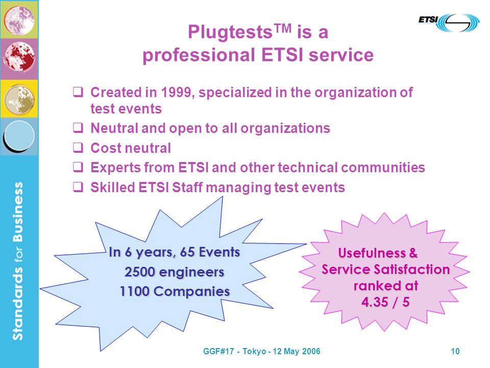 GGF#17 - Tokyo - 12 May 200610 Plugtests TM is a professional ETSI service Created in 1999, specialized in the organization of test events Neutral and open to all organizations Cost neutral Experts from ETSI and other technical communities Skilled ETSI Staff managing test events In 6 years, 65 Events 2500 engineers 1100 Companies Usefulness & Service Satisfaction ranked at 4.35 / 5