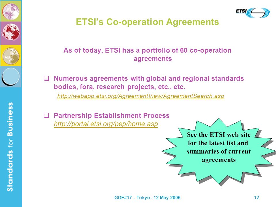 GGF#17 - Tokyo - 12 May 200612 ETSIs Co-operation Agreements As of today, ETSI has a portfolio of 60 co-operation agreements Numerous agreements with global and regional standards bodies, fora, research projects, etc., etc.