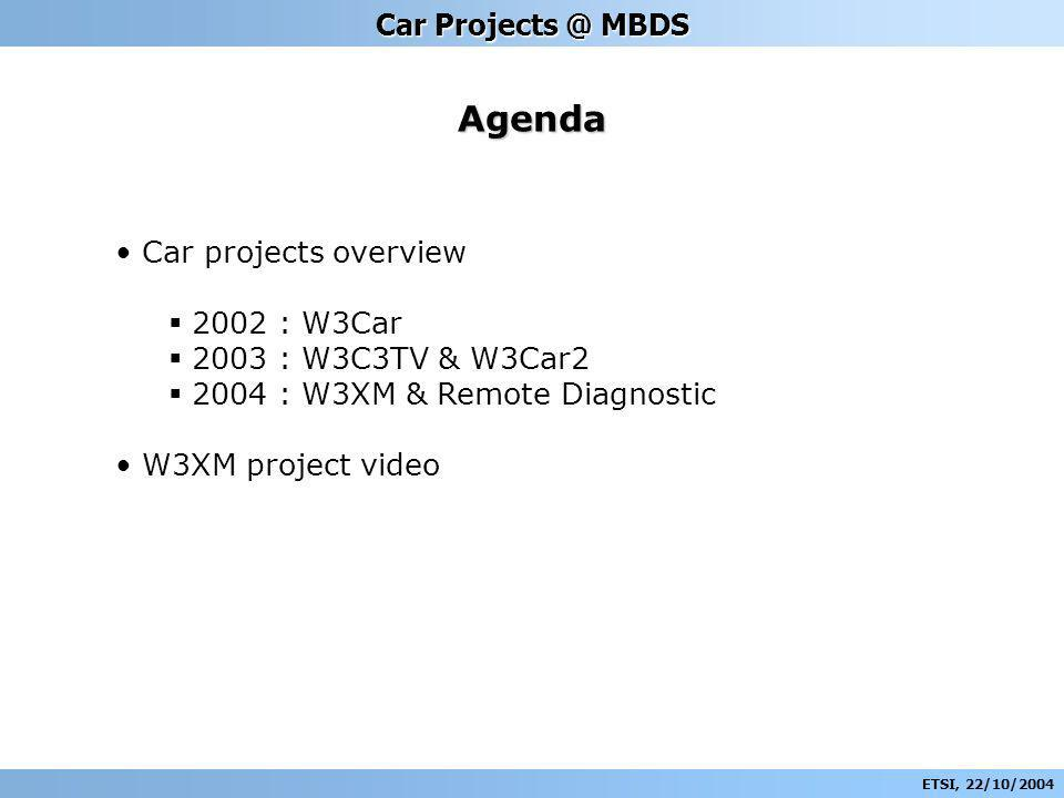 ETSI, 22/10/2004 Car Projects @ MBDS Agenda Car projects overview 2002 : W3Car 2003 : W3C3TV & W3Car2 2004 : W3XM & Remote Diagnostic W3XM project video