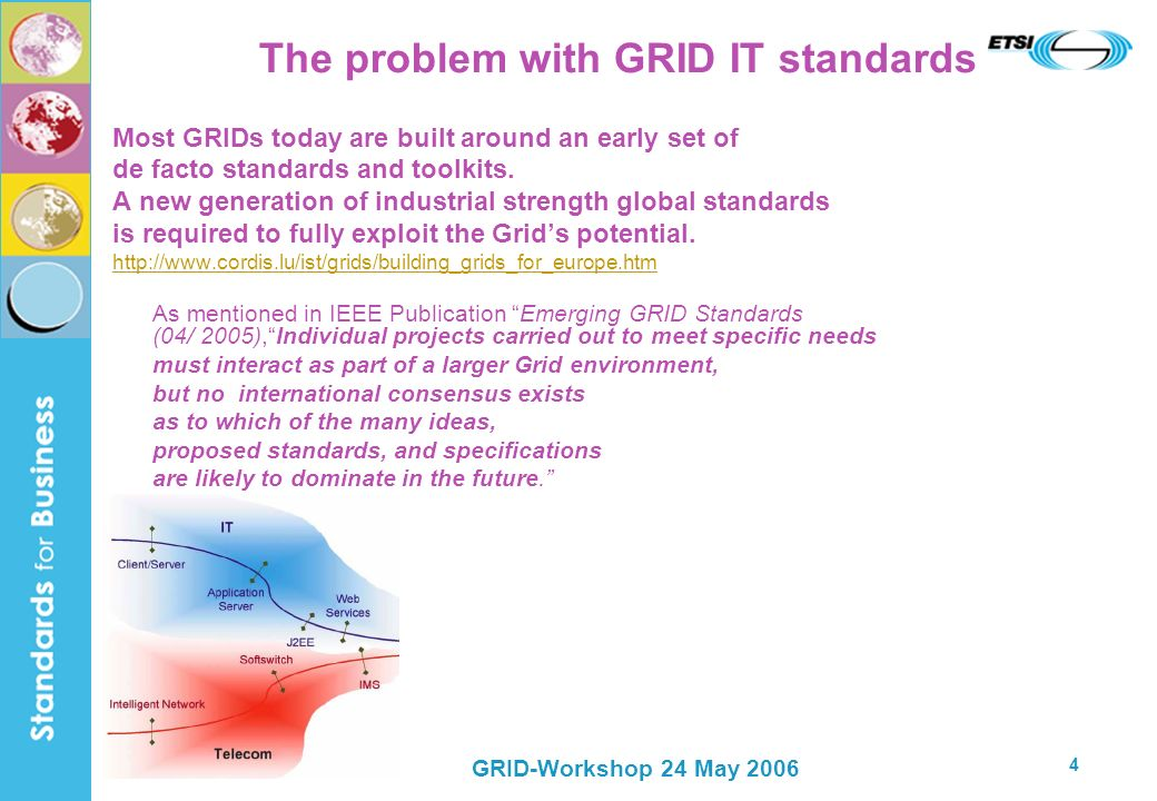 GRID-Workshop 24 May 2006 4 The problem with GRID IT standards Most GRIDs today are built around an early set of de facto standards and toolkits. A ne