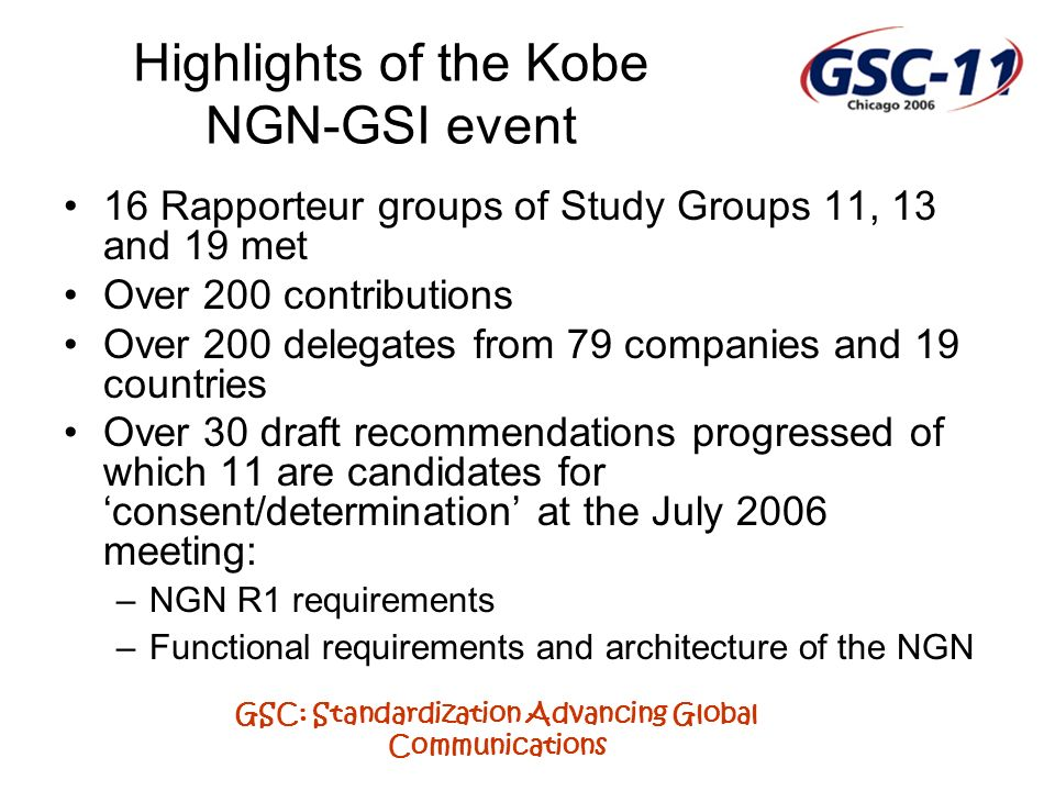 GSC: Standardization Advancing Global Communications Highlights of the Kobe NGN-GSI event 16 Rapporteur groups of Study Groups 11, 13 and 19 met Over 200 contributions Over 200 delegates from 79 companies and 19 countries Over 30 draft recommendations progressed of which 11 are candidates for consent/determination at the July 2006 meeting: –NGN R1 requirements –Functional requirements and architecture of the NGN