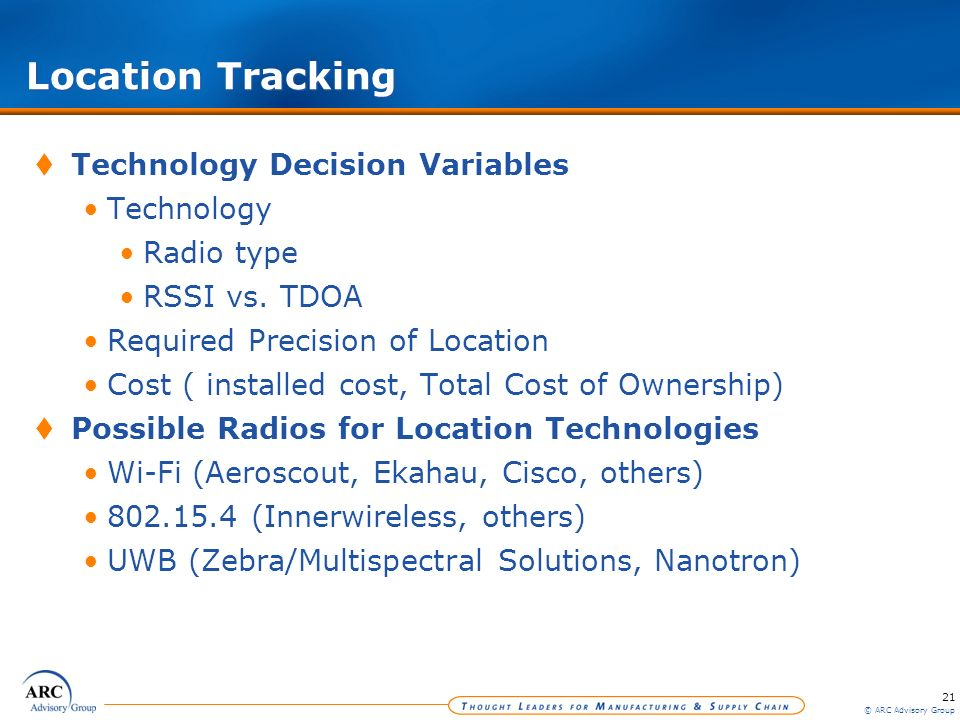 21 © ARC Advisory Group Location Tracking Technology Decision Variables Technology Radio type RSSI vs. TDOA Required Precision of Location Cost ( inst