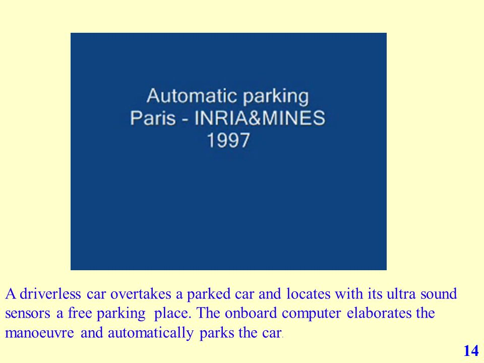 14 A driverless car overtakes a parked car and locates with its ultra sound sensors a free parking place.