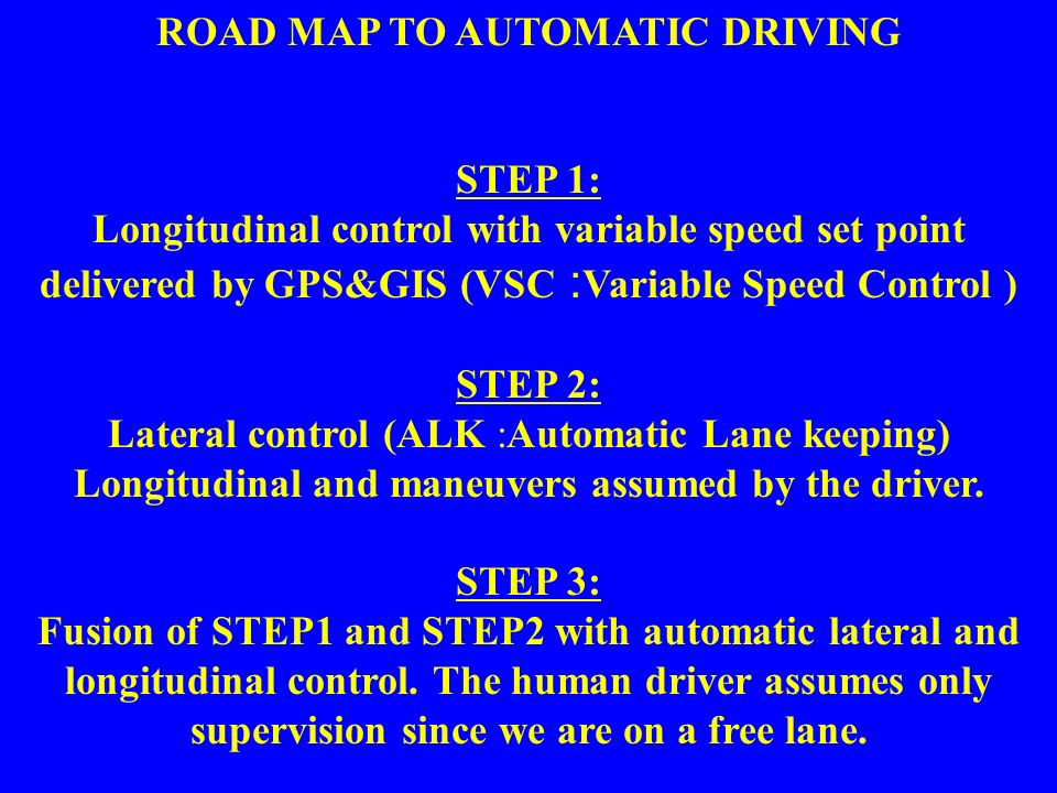 22 ROAD MAP TO AUTOMATIC DRIVING STEP 1: Longitudinal control with variable speed set point delivered by GPS&GIS (VSC : Variable Speed Control ) STEP 2: Lateral control (ALK :Automatic Lane keeping) Longitudinal and maneuvers assumed by the driver.