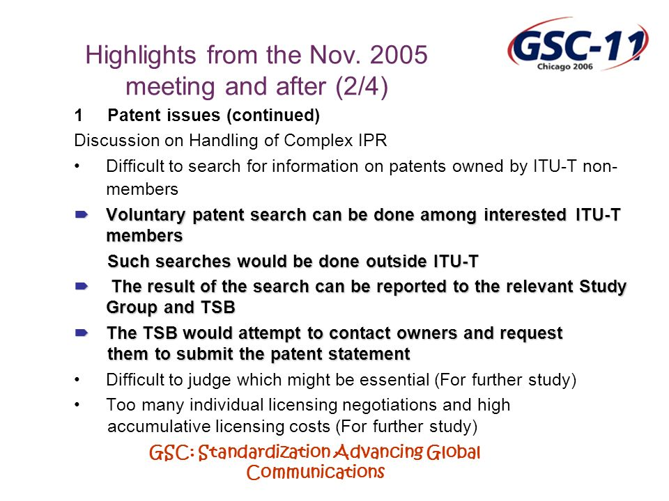 GSC: Standardization Advancing Global Communications Highlights from the Nov.