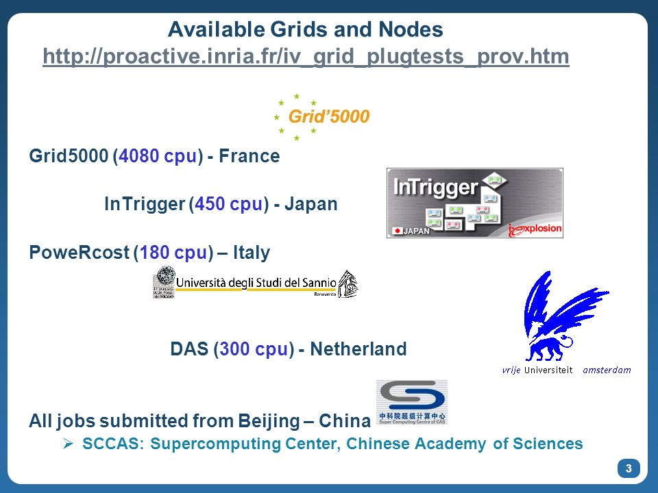 3 Available Grids and Nodes     Grid5000 (4080 cpu) - France InTrigger (450 cpu) - Japan PoweRcost (180 cpu) – Italy DAS (300 cpu) - Netherland All jobs submitted from Beijing – China SCCAS: Supercomputing Center, Chinese Academy of Sciences