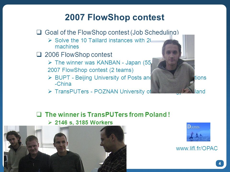 5 2007 N-Queens contest Goal of the N-Queens contest Solve the maximum number of N-Queens solutions in1 hour On a maximum number of machines With the most efficient algorithm 2006 N-Queens contest The winner was Eight Samouri – Japan ~6 467 Billions solutions 2193 Workers deployed Counted N=22 Queens in 27mn 2007 N-Queens contest (6 teams) ACT - The Institute of Advanced Computing Technology of Beihang University in Beijing - China BUPT - Beijing University of Posts and Telecommunications -China ChinaGrid – Tsinghua University - China Grid-TU – Tsinghua University - China MOAIS Kaapi – France outPUT - Poznan University of Technology - Poland