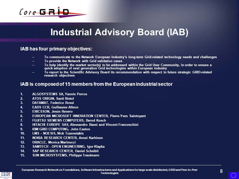 European Research Network on Foundations, Software Infrastructures and Applications for large scale distributed, GRID and Peer-to-Peer Technologies 8 Industrial Advisory Board (IAB) IAB has four primary objectives: –To communicate to the Network European Industrys long-term Grid-related technology needs and challenges –To provide the Network with Grid validation cases –To help identify the market sector(s) to be addressed within the Grid User Community, in order to ensure a quick adoption of next generation Grid technologies within European industry –To report to the Scientific Advisory Board its recommendation with respect to future strategic GRID-related research objectives IAB is composed of 15 members from the European industrial sector 1.ALGOSYSTEMS SA, Yannis Perros 2.ATOS ORIGIN, Santi Ristol 3.DATAMAT, Federico Rossi 4.EADS CCR, Guillaume Alleon 5.ERICSSON, Jesús Renero 6.EUROPEAN MICROSOFT INNOVATION CENTER, Pierre-Yves Saintoyant 7.FUJITSU SIEMENS COMPUTERS, Bernd Kosch 8.HITACHI EUROPE SAS, Alessandro Bassi and Vincent Franceschini 9.IBM GRID COMPUTING, John Easton 10.LMS – NOESIS, Nick Tzannetakis 11.NOKIA RESEARCH CENTER, Anssi Karhinen 12.ORACLE, Monica Marinucci 13.SAMTECH - OPEN ENGINEERING, Igor Klapka 14.SAP RESEARCH CENTER, Daniel Scheibli 15.SUN MICROSYSTEMS, Philippe Trautmann