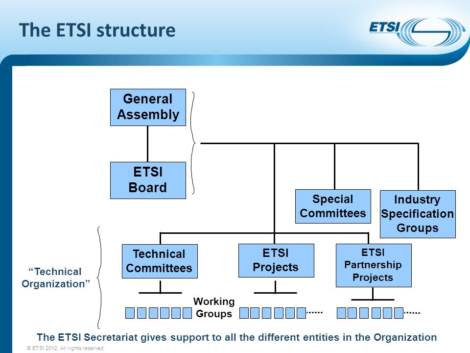 The ETSI structure Technical Organization The ETSI Secretariat gives support to all the different entities in the Organization Working Groups General