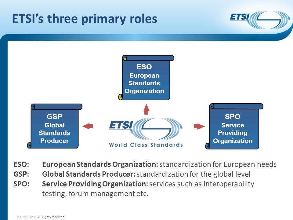 ETSIs three primary roles GSP Global Standards Producer ESO European Standards Organization SPO Service Providing Organization ESO:European Standards