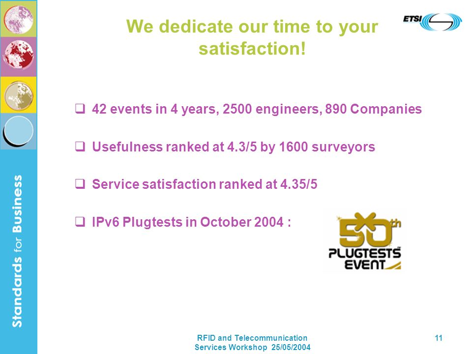RFID and Telecommunication Services Workshop 25/05/2004 11 We dedicate our time to your satisfaction! 42 events in 4 years, 2500 engineers, 890 Compan
