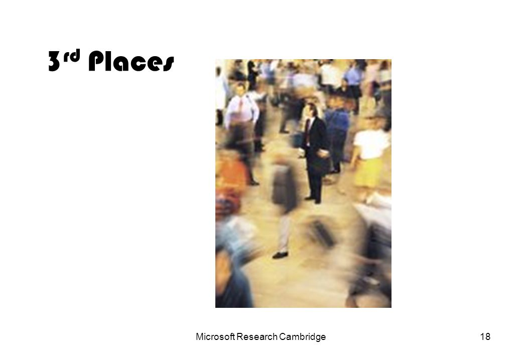 Microsoft Research Cambridge18 3 rd Places