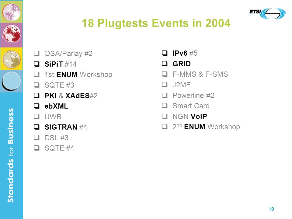 10 18 Plugtests Events in 2004 OSA/Parlay #2 SiPiT #14 1st ENUM Workshop SQTE #3 PKI & XAdES#2 ebXML UWB SIGTRAN #4 DSL #3 SQTE #4 IPv6 #5 GRID F-MMS
