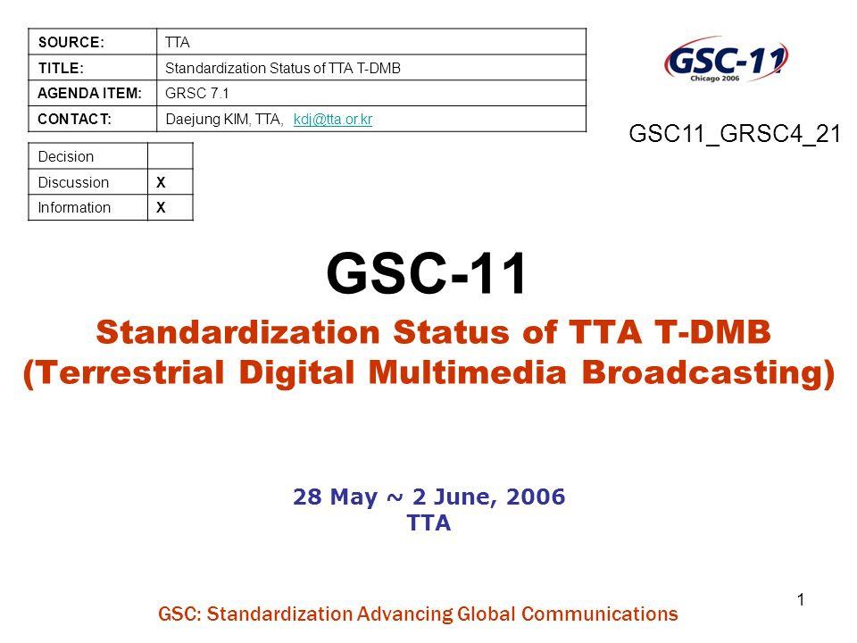 GSC: Standardization Advancing Global Communications 1 GSC-11 Standardization Status of TTA T-DMB (Terrestrial Digital Multimedia Broadcasting) 28 May ~ 2 June, 2006 TTA SOURCE:TTA TITLE:Standardization Status of TTA T-DMB AGENDA ITEM:GRSC 7.1 CONTACT:Daejung KIM, TTA, kdj@tta.or.krkdj@tta.or.kr Decision DiscussionX InformationX GSC11_GRSC4_21