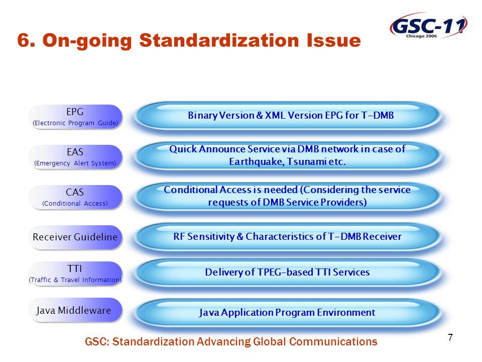 GSC: Standardization Advancing Global Communications 7 EPG (Electronic Program Guide) EPG (Electronic Program Guide) Binary Version & XML Version EPG for T-DMB 6.