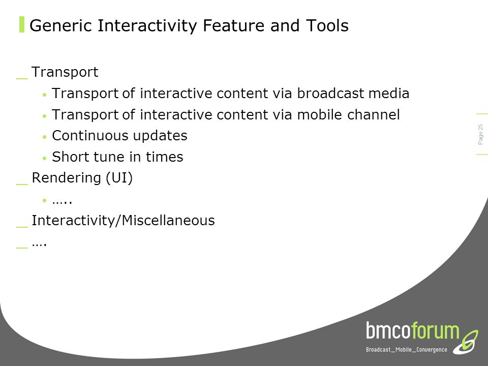© bmco 2003 Page 24 Interactive Mobile Broadcast Use Cases _ Information-specific use cases Static show-related information Dynamic programme-related