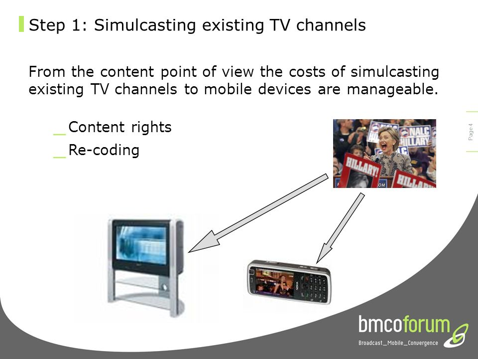 © bmco 2003 Page 3 Step 1: Simulcasting existing TV channels Mobile TV ContentTV programs Streaming vs. Download Display broadcast stream in real time