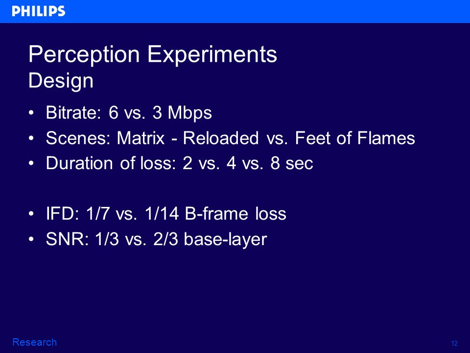 12 Research Perception Experiments Design Bitrate: 6 vs.