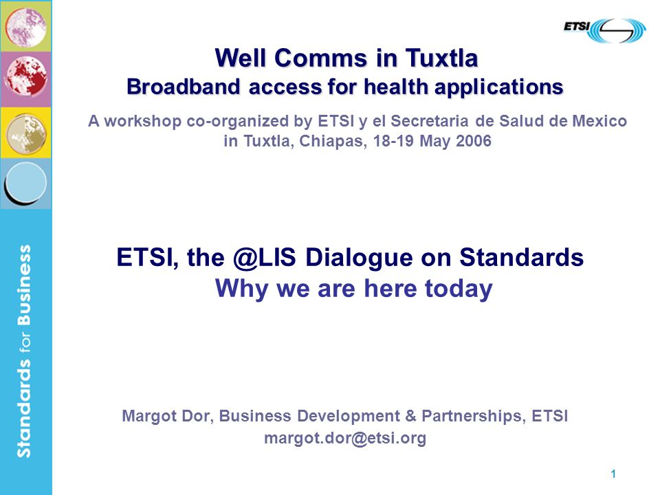 1 Margot Dor, Business Development & Partnerships, ETSI A workshop co-organized by ETSI y el Secretaria de Salud de Mexico in Tuxtla, Chiapas, May 2006 ETSI, Dialogue on Standards Why we are here today Well Comms in Tuxtla Broadband access for health applications