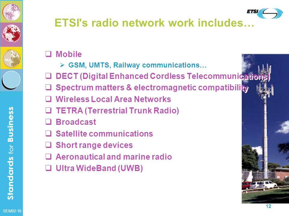 SEM02-10 12 ETSI's radio network work includes… Mobile GSM, UMTS, Railway communications… DECT (Digital Enhanced Cordless Telecommunications) Spectrum